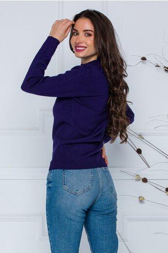 Bluza Dori bleumarin cu textura striata pe maneci si laterale