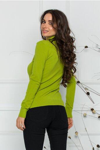 Bluza Dori verde lime cu guler
