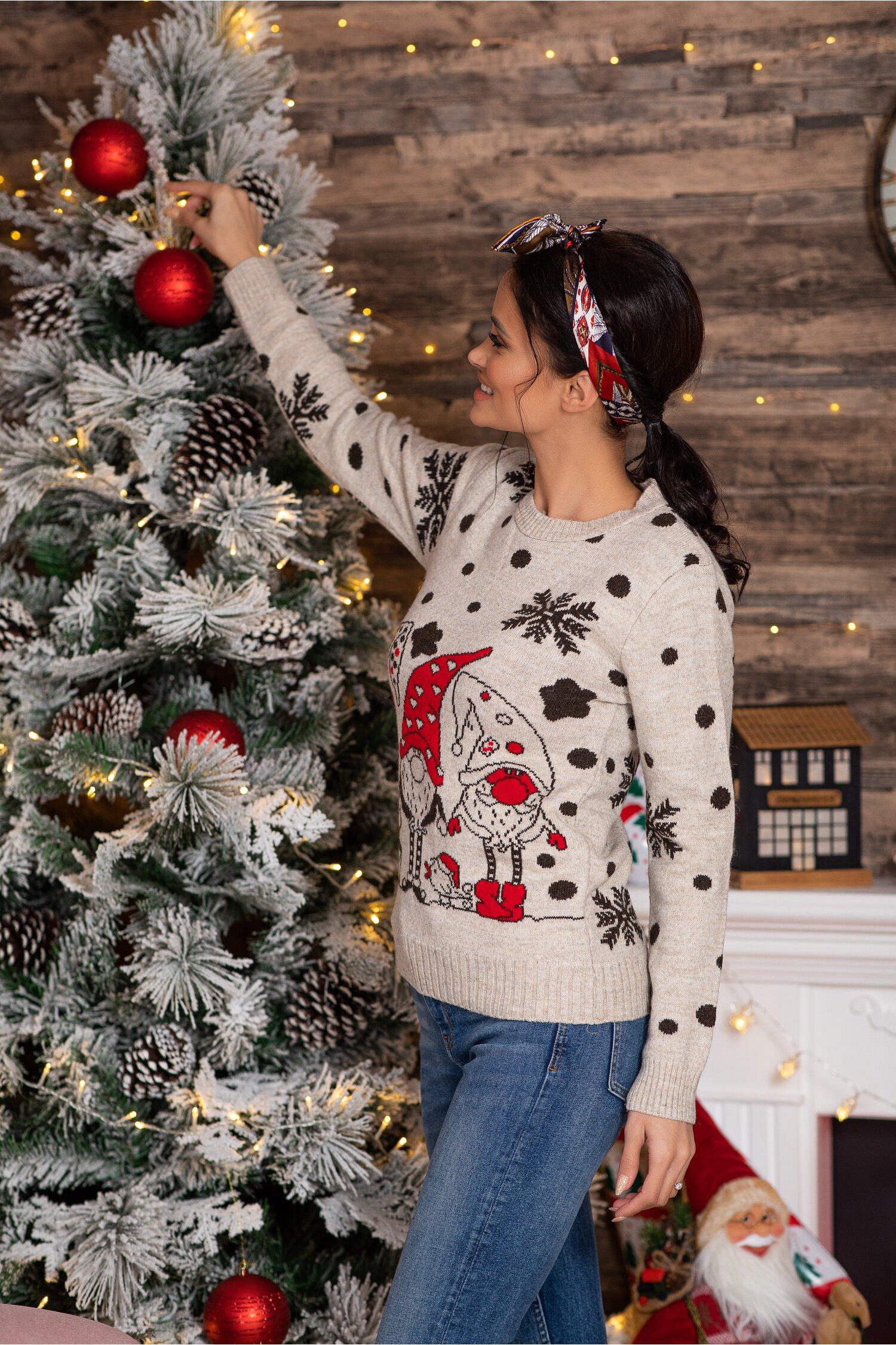 Bluza Elfs bej cu imprimeu de iarna Idei Cadouri de Craciun Online
