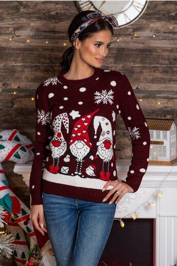 Bluza Elfs bordo cu imprimeu de iarna