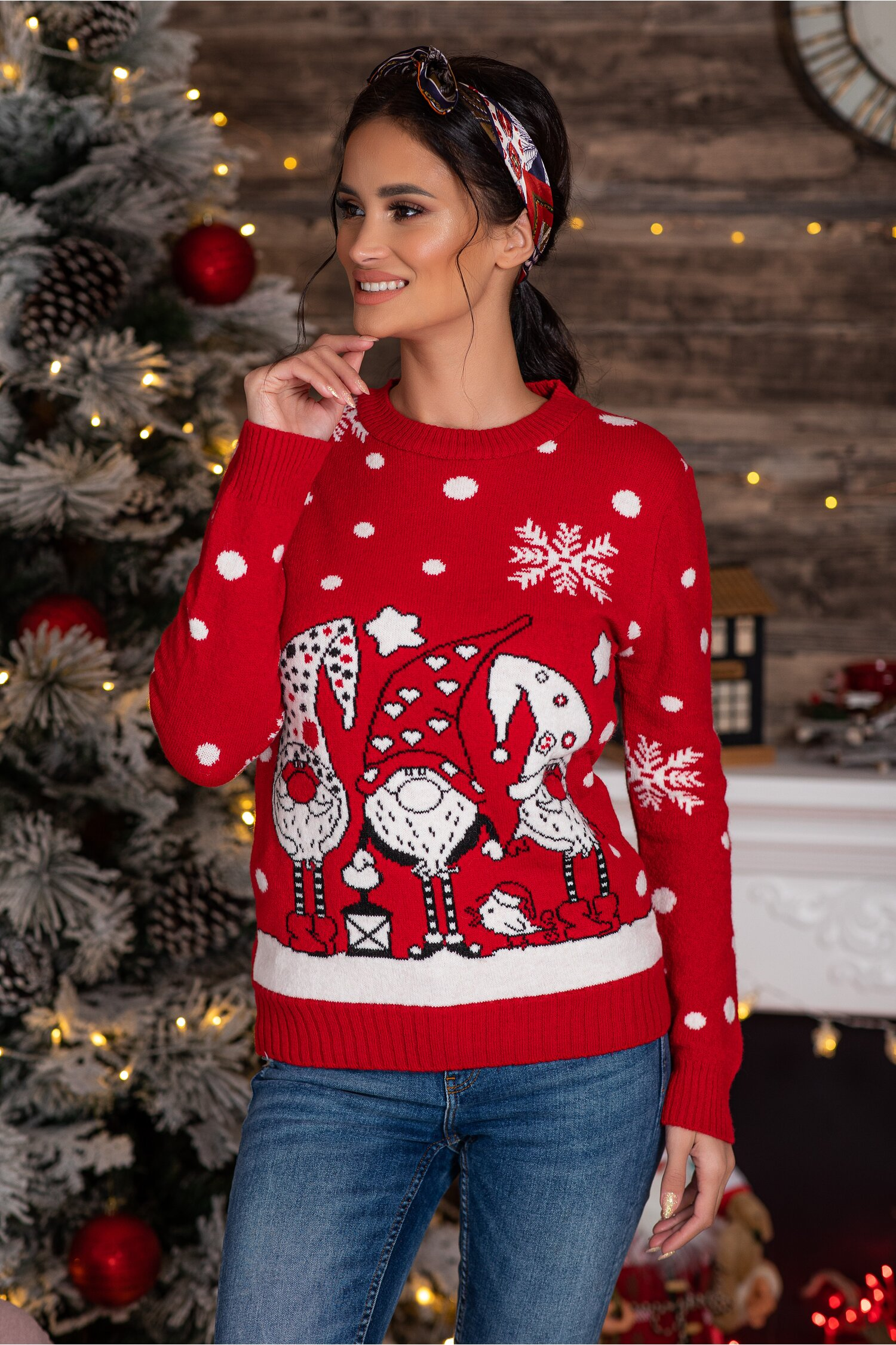 Bluza Elfs rosie cu imprimeu de iarna Idei Cadouri de Craciun Online