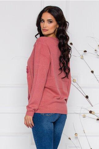 Bluza Feather roz coniac cu aplicatii