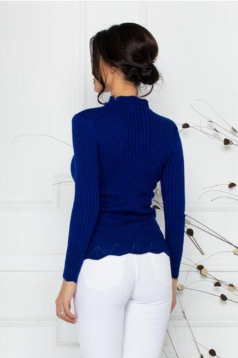 Bluza Felicia albastra cu impletituri la guler