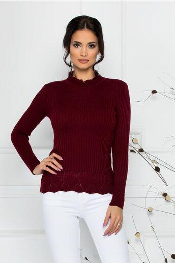 Bluza Felicia bordo cu impletituri la guler