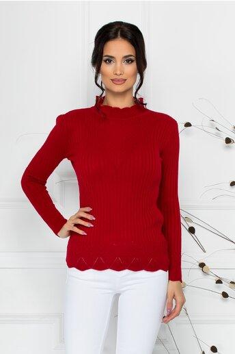 Bluza Felicia rosie cu impletituri la guler