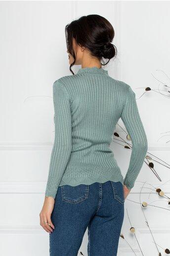 Bluza Felicia verde pal cu impletituri la guler