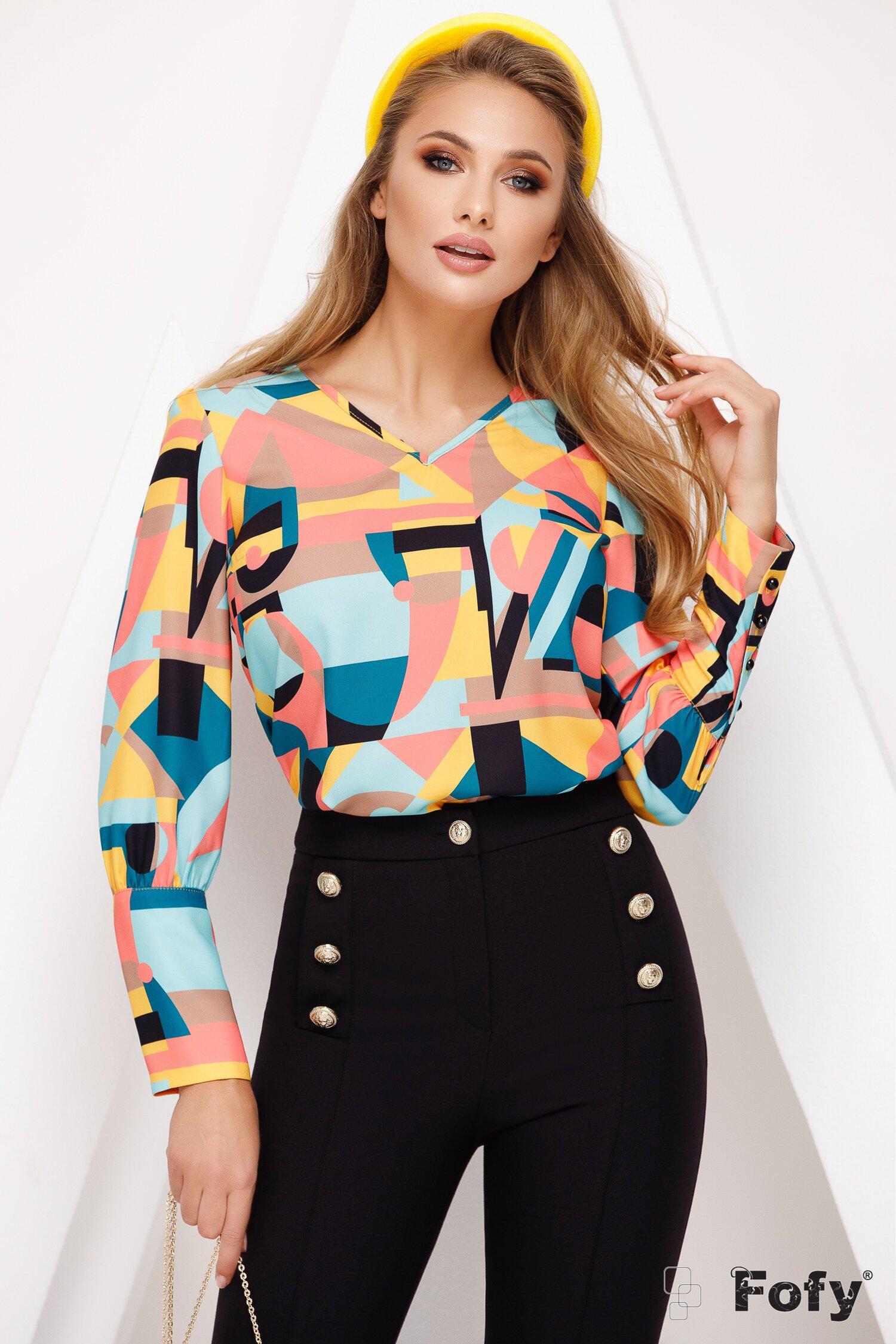 Bluza Fofy cu imprimeu grafic multicolor si esarfa la gat