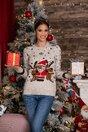 Bluza Holiday bej cu imprimeu de iarna