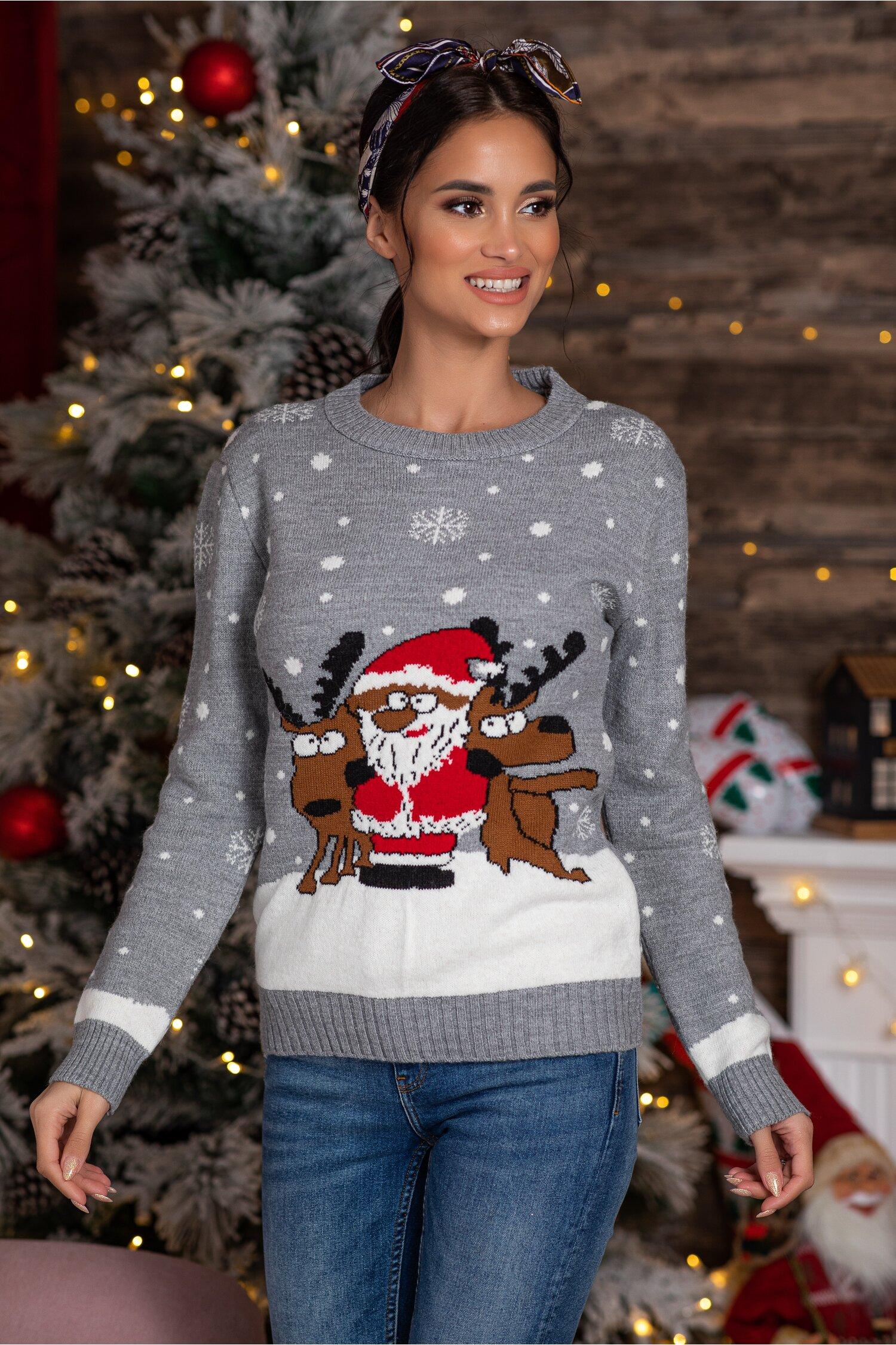 Bluza Holiday gri cu imprimeu de iarna Idei Cadouri de Craciun Online