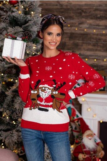 Bluza Holiday rosie cu imprimeu de iarna