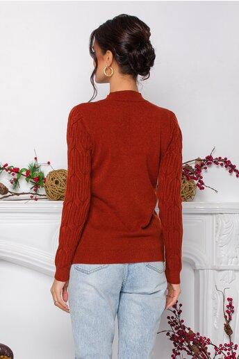 Bluza Irina caramizie din tricot cu model in relief