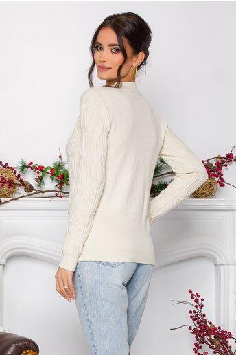 Bluza Irina ivory din tricot cu model in relief