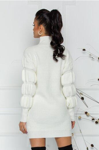 Bluza Kim alba din tricot cu design incretit la maneci