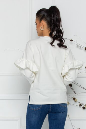 Bluza LaDonna alba cu volane si insertii din piele ecologica