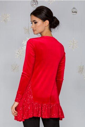 Bluza LaDonna din catifea rosie cu paiete la baza