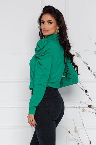 Bluza LaDonna verde cu guler si umeri bufanti