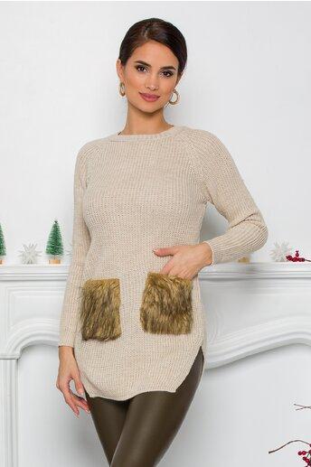 Bluza Lexa ivory din tricot cu blanita la buzunare