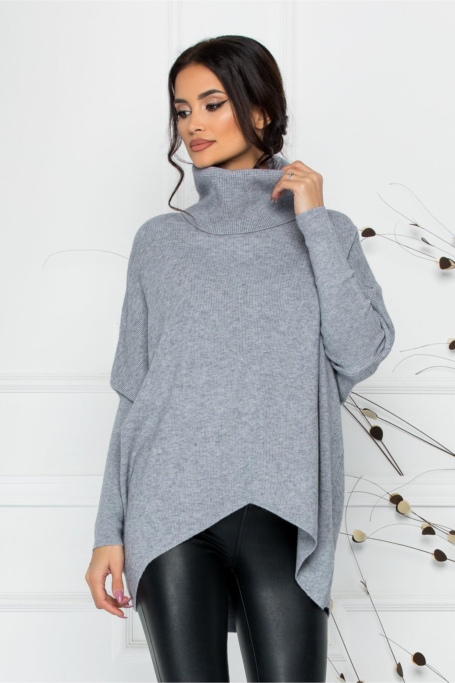 Bluza Livia gri lejera cu lungime asimetrica