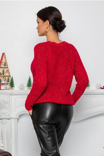 Bluza Love Minnie rosie din tricot cu insertii din fir lurex