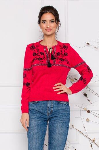 Bluza Mara rosie lejera cu imprimeu floral