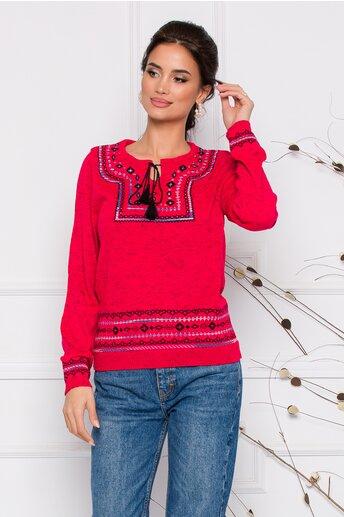 Bluza Mara rosie lejera cu imprimeu in stil traditional