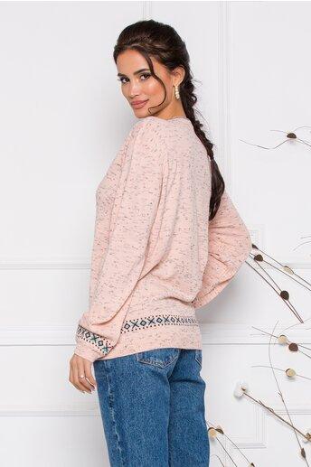 Bluza Mara roz lejera cu imprimeu geometric in nuante pastelate
