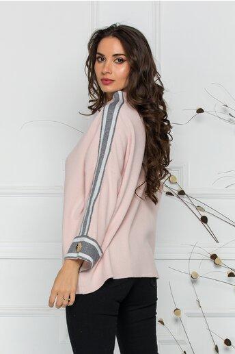 Bluza Marina roz lejera cu dungi pe maneci