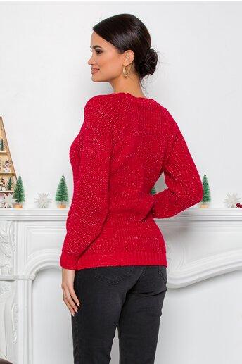 Bluza Minnie Mouse rosie din tricot cu insertii din fir lurex