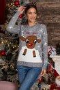 Bluza Oh Deer gri cu imprimeu de iarna
