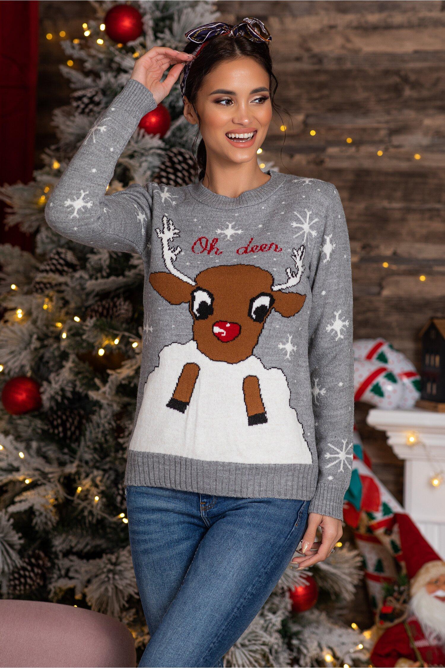 Bluza Oh Deer gri cu imprimeu de iarna Idei Cadouri de Craciun Online