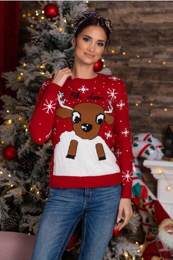 Bluza Oh Deer rosie cu imprimeu de iarna