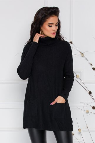 Bluza Olga neagra cu guler inalt si buzunare