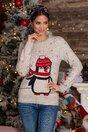 Bluza Penguin bej cu imprimeu de iarna