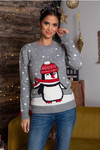 Bluza Penguin gri cu imprimeu de iarna