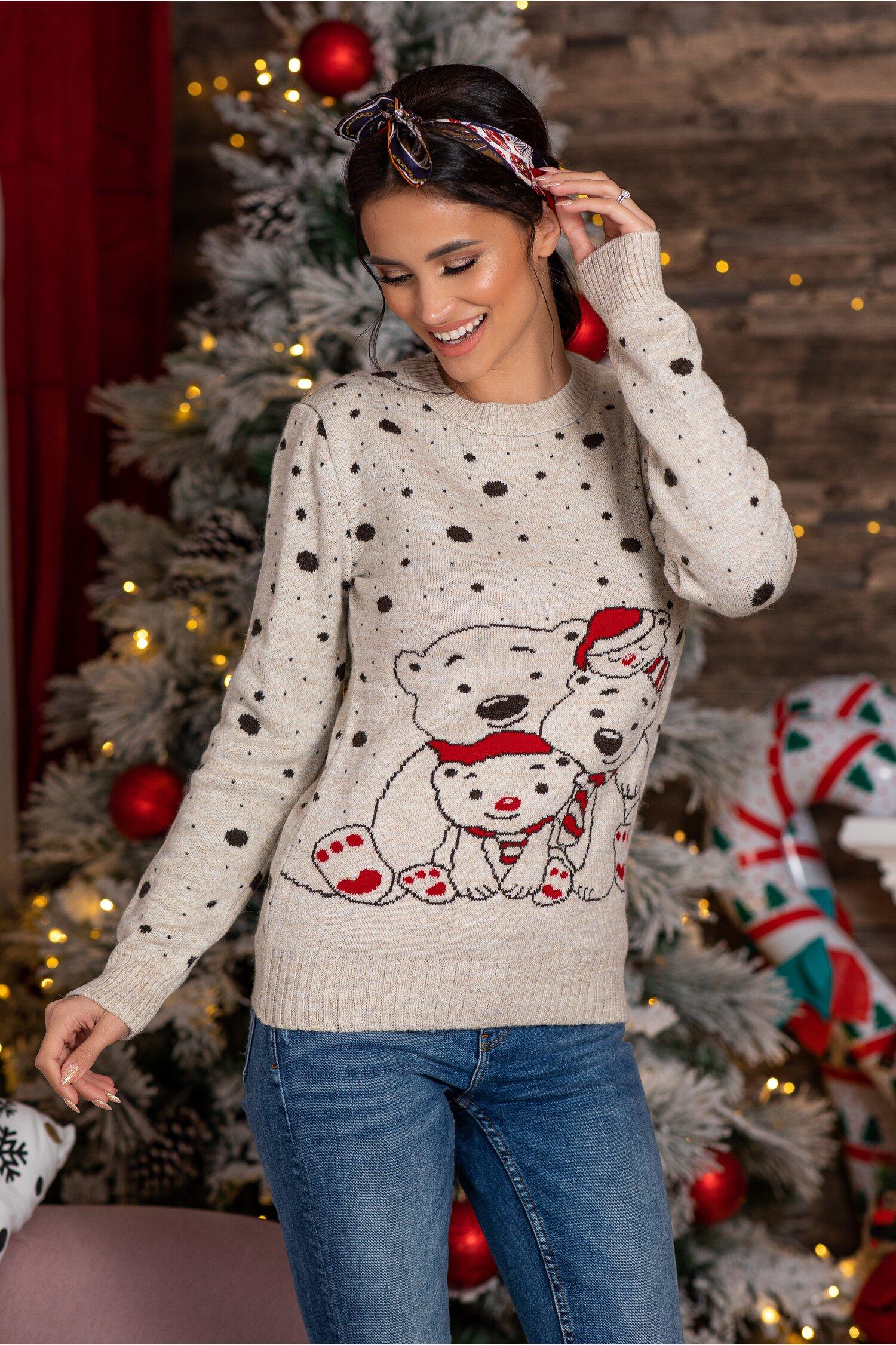 Bluza Polar Bear bej cu imprimeu de iarna Idei Cadouri de Craciun Online