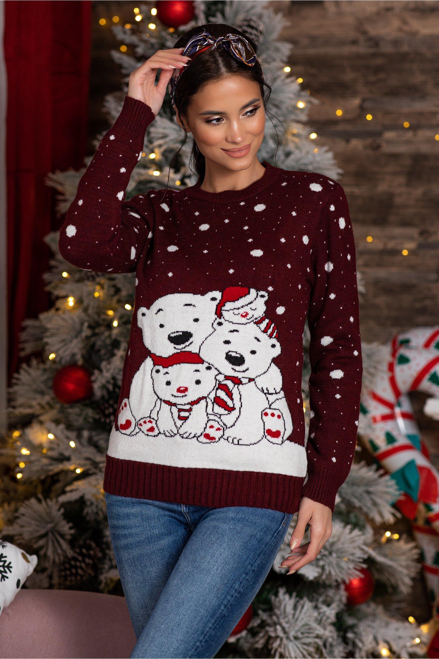 Bluza Polar Bear bordo cu imprimeu de iarna Idei Cadouri de Craciun Online