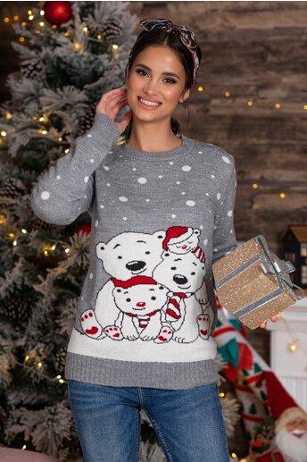 Bluza Polar Bear gri cu imprimeu de iarna