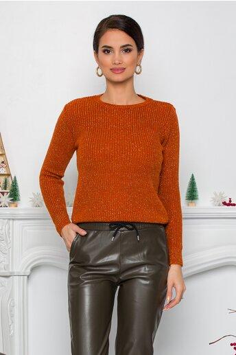 Bluza Ramona caramizie cu insertii din fir lurex
