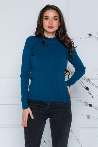 Bluza Roxi albastru petrol cu design stilysh la guler si baza