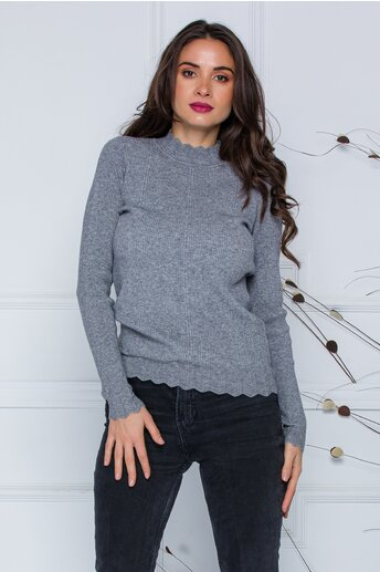 Bluza Roxi gri cu design stilysh la guler si baza