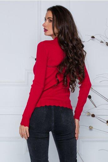 Bluza Roxi rosie cu design stilysh la guler si baza