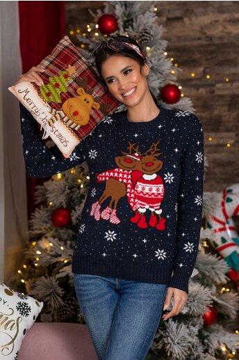 Bluza Rudolf bleumarin cu imprimeu de iarna