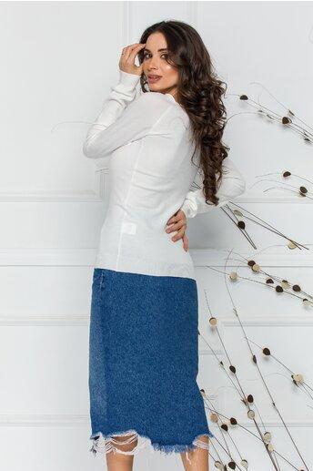 Bluza Sabrina alba cu decolteu oval
