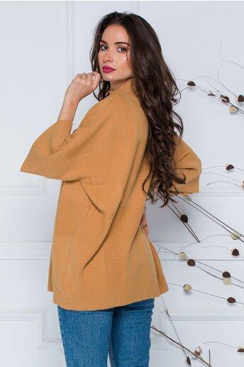 Bluza Sara camel lejera din tricot cu maneci scurte