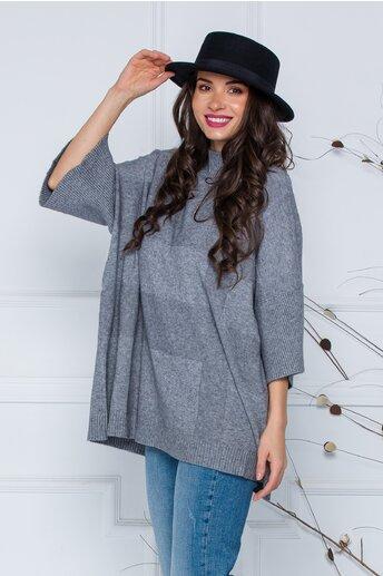 Bluza Sara gri lejera din tricot cu maneci scurte