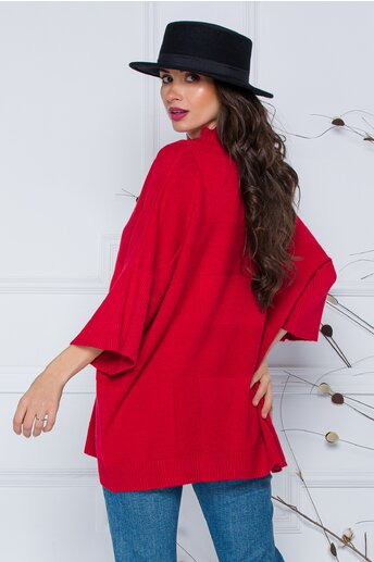 Bluza Sara rosie lejera din tricot cu maneci scurte