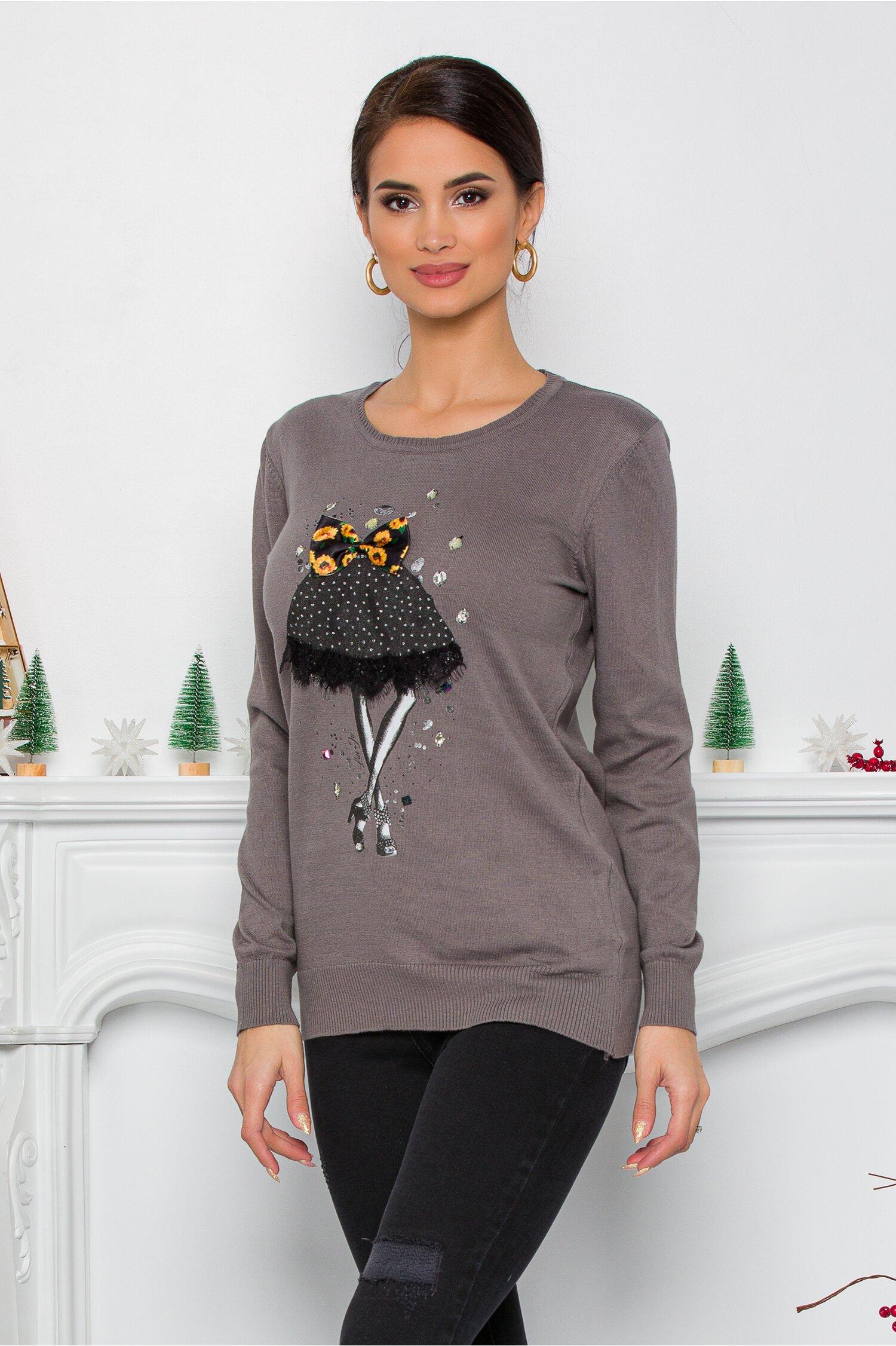 Bluza Sea gri cu imprimeu fashion