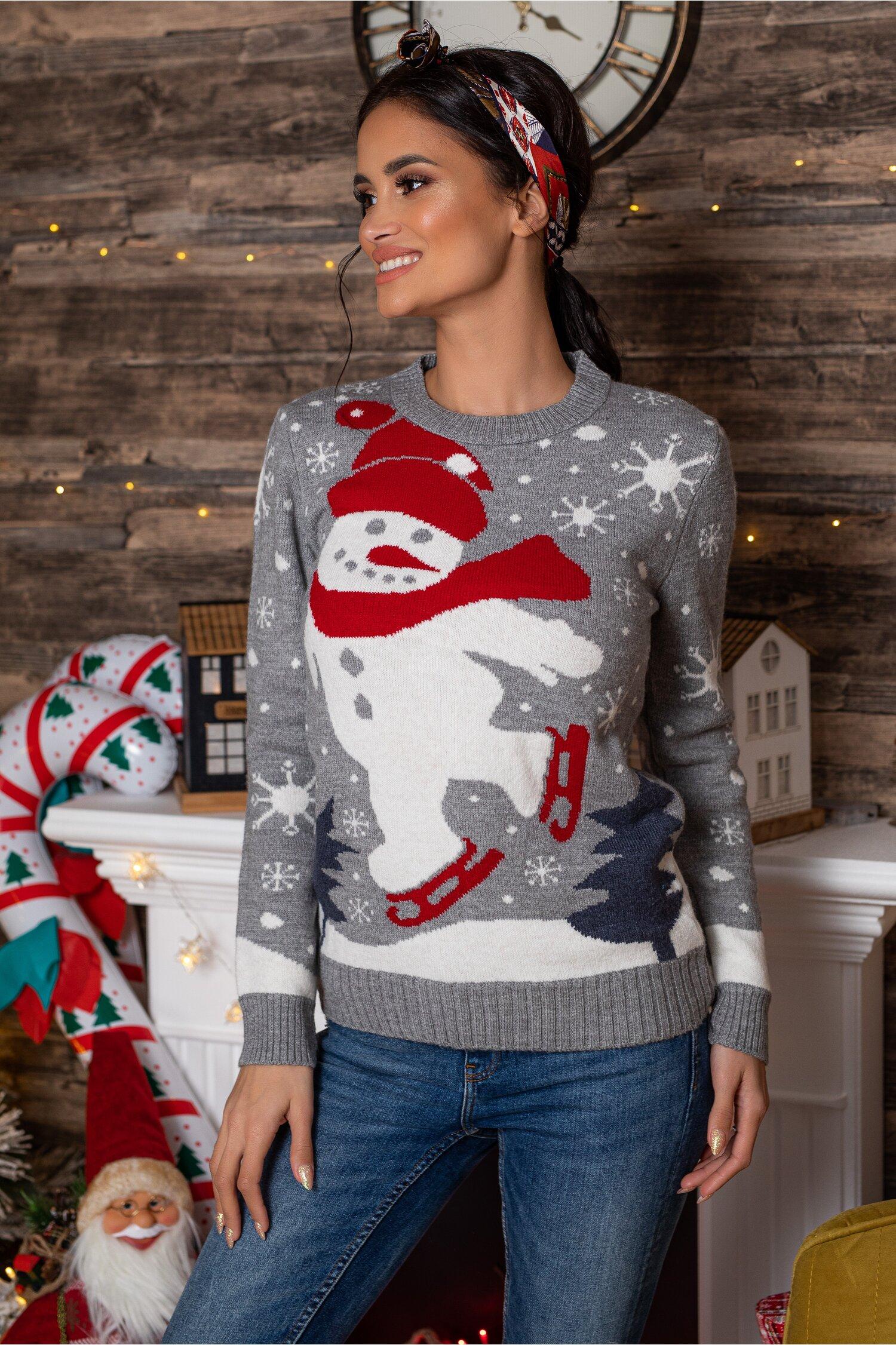 Bluza Snowman gri cu imprimeu de iarna Idei Cadouri de Craciun Online