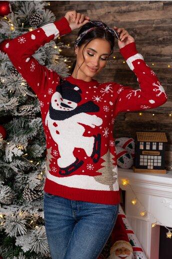 Bluza Snowman rosie cu imprimeu de iarna