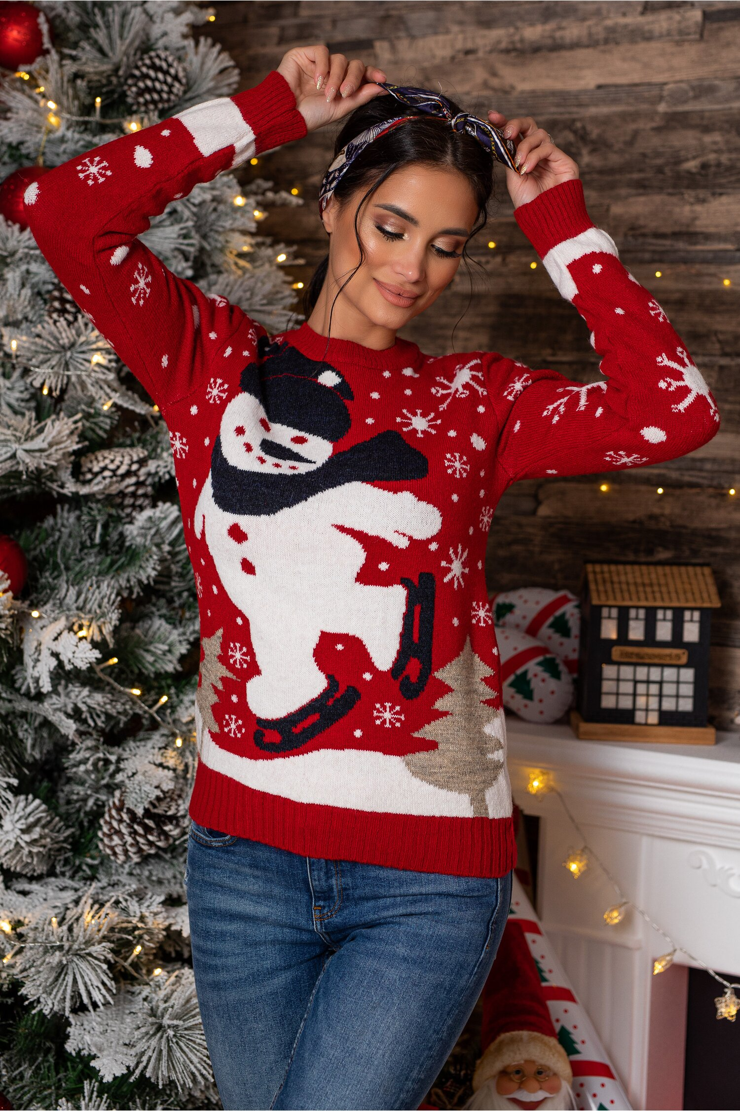 Bluza Snowman rosie cu imprimeu de iarna Idei Cadouri de Craciun Online